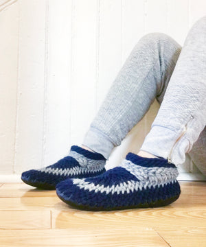 Navy Blue Merino Wool Slippers, Handmade in Canada