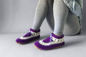 classic slipper purple handmade upcycled