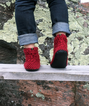 Red Wool Slippers with Leather Sole