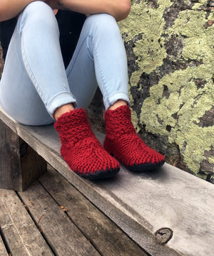 Red Crocheted Merino Wool Slippers with Leather Soles