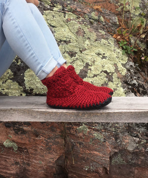 Red Knitted Slipper Booties with Leather Sole, Made in Canada
