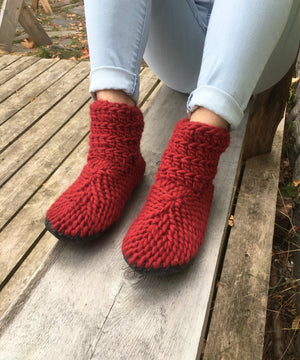 Red Merino Wool Slipper Boots, Handmade in Canada