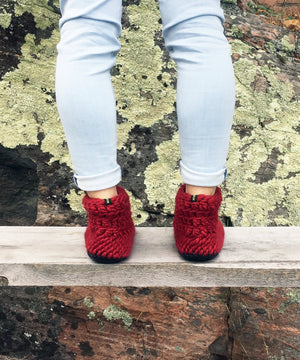 Cranberry Red Merino Wool Slippers, Handmade in Canada