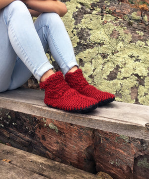 Red Merino Wool Slippers with Leather Soles, Made in Canada