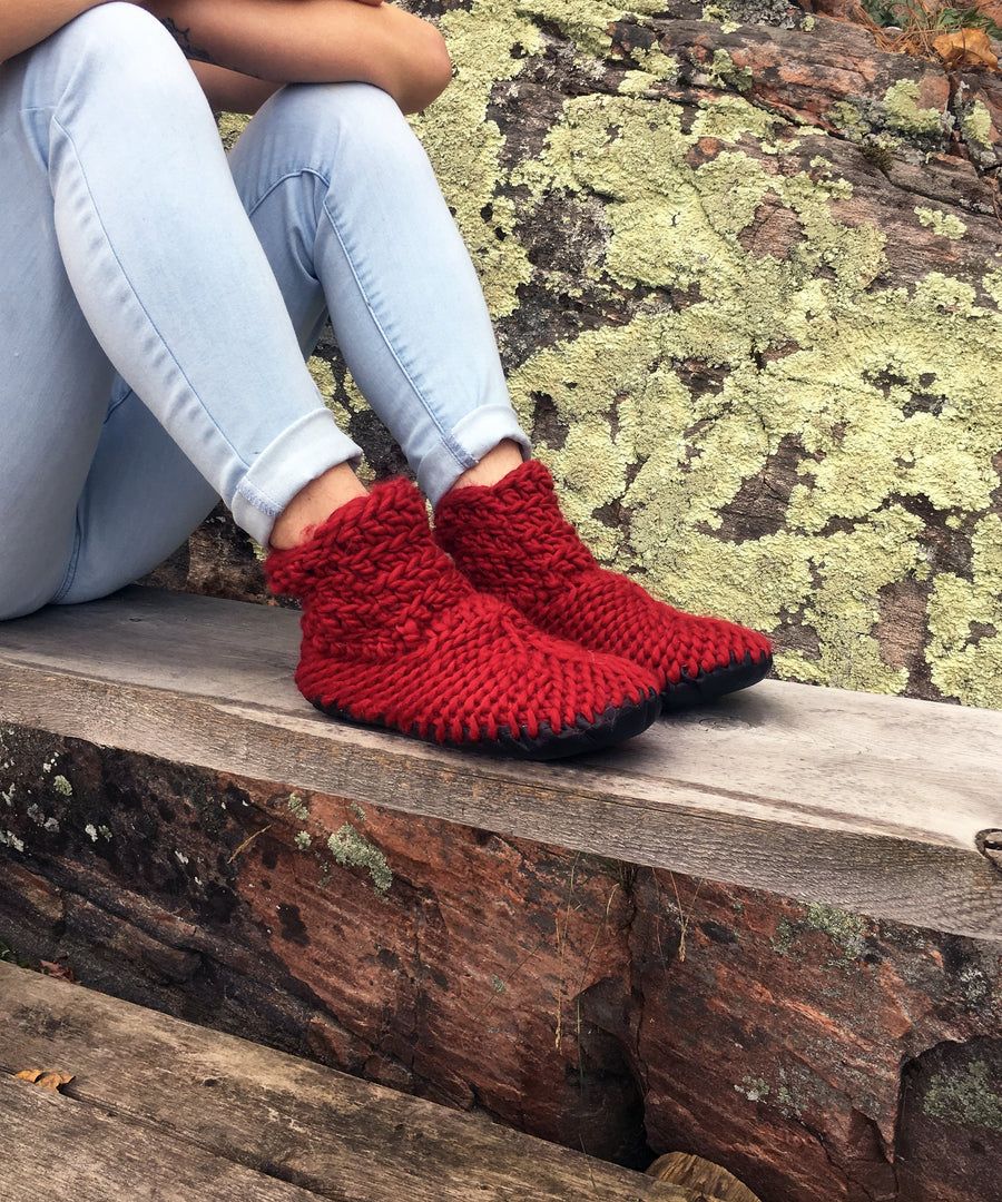 Red Merino Wool Ankle Bootie Slippers, Made in Canada