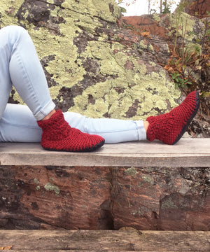 Red Merino Wool Ankle Bootie Slippers with Leather Soles, Made in Canada