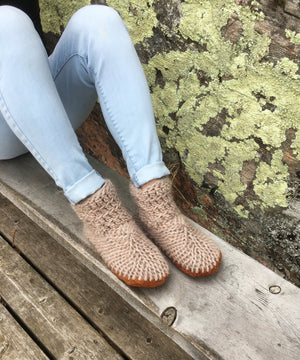 Beige Merino Wool Slippers with Leather Soles, Made in Canada