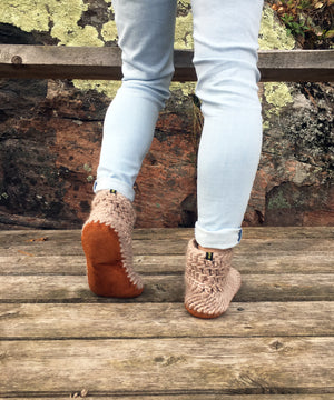 Beige Merino Wool Slippers with Leather Soles, Handmade in Canada