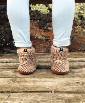 Beige Merino Wool Crochet Slippers with Leather Soles, Handmade in Canada
