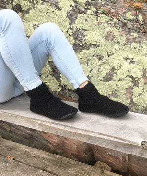 Black Merino Wool Slippers, Handmade in Canada