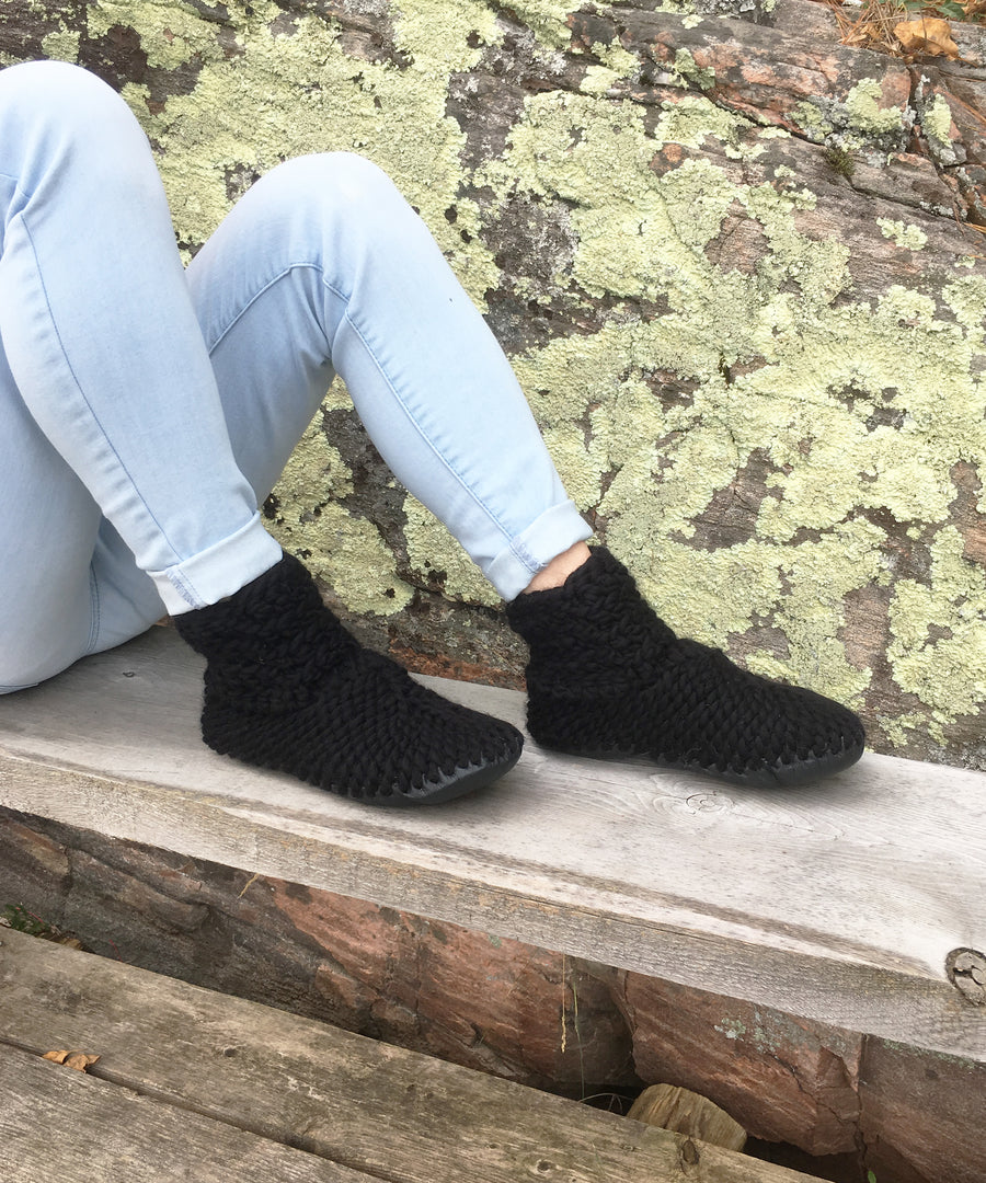 Black Crochet Merino Wool Slippers with Leather Soles