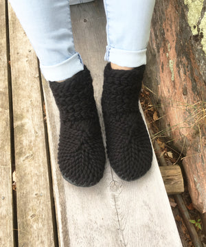 Solid Black Slippers, Handmade in Canada