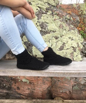 Black Crochet Slipper Booties with Leather Soles, Made in Canada