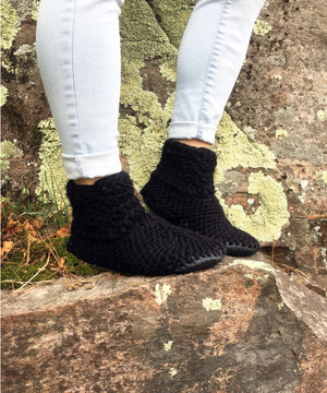 Black Merino Wool Slippers with Leather Soles