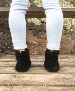 Black Merino Wool Slippers