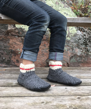 Demi-Boot: Sock Monkey, Merino Wool Work Sock Slipper