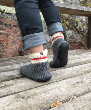 Demi-Boot: Sock Monkey, Merino Wool Work Sock Slipper with Leather Sole