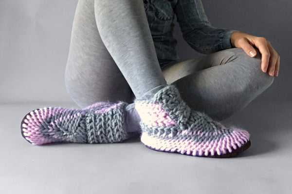 knitted half boot pink grey handmade recycled