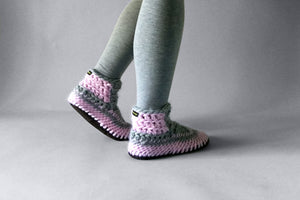 knitted demi boot pink grey handmade recycled