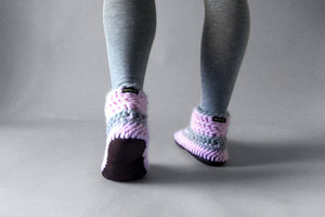wool half boot pink grey handmade recycled