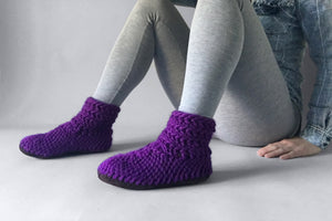 wool half boot purple handmade recycled