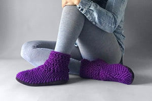 woolen half boot purple handmade recycled