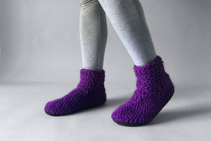 knitted half boot purple handmade recycled