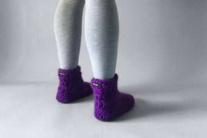 knitted half boot purple handmade upcycled