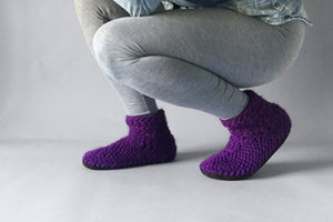 knitted demi boot purple handmade upcycled