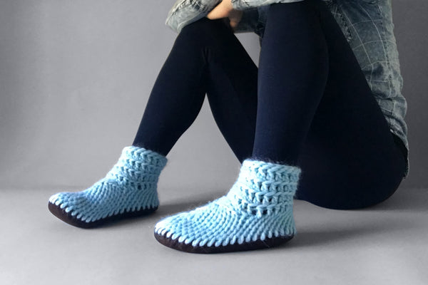 knitted demi boot sky blue handmade upcycled