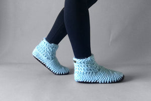 woolen demi boot sky blue handmade upcycled
