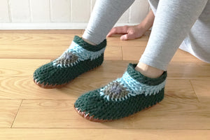 Green Merino Wool Handmade Canadian Slippers