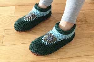 Green Crochet Slippers Handmade Cozy Slippers Canada