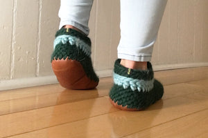 Knitted Wool Slippers with Leather Sole Women