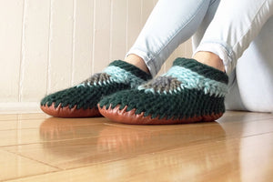 Green Wool Slippers Leather Soles Merino Wool Crocheted