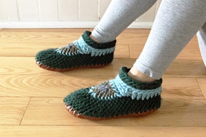 Knitted Slipper with Leather Sole Muffle Up Canada