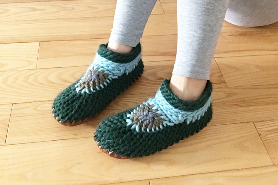 Green Merino Wool Slippers Handmade in Canada