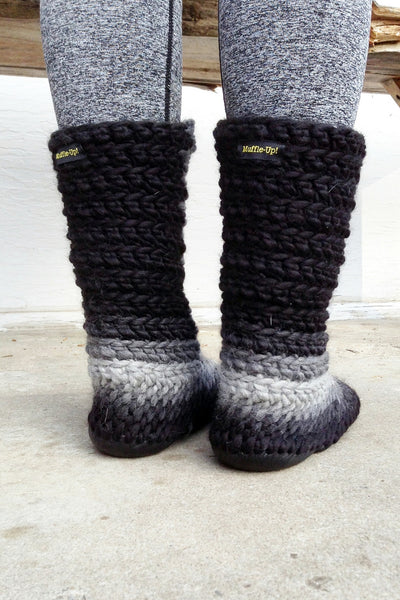 knitted slipper boots charcoal fade handmade upcycled