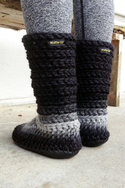 woolen slipper boots grey fade handmade recycled