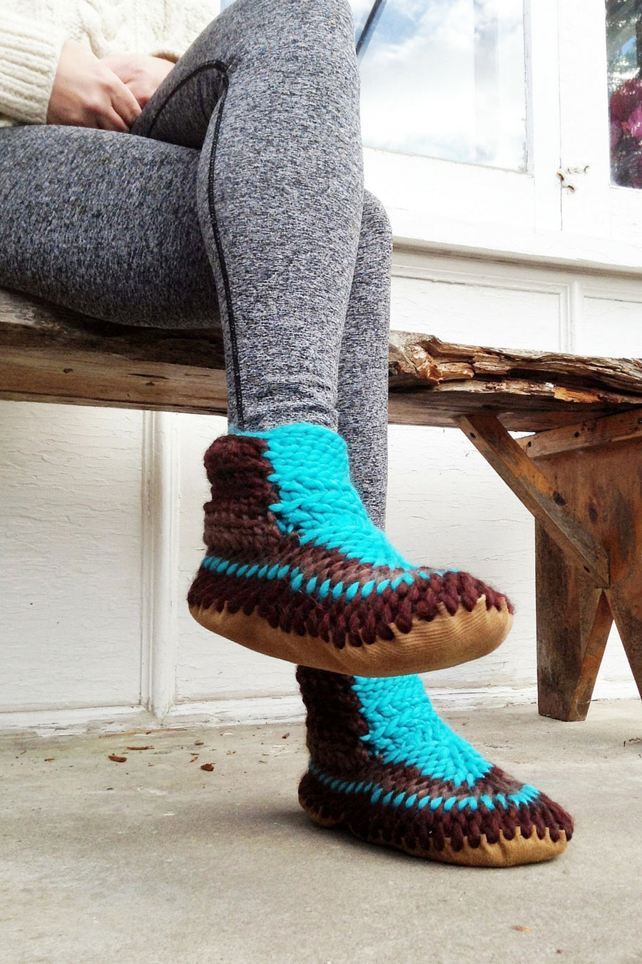 demi boot brown turquoise handmade upcycled