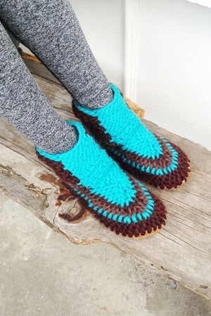 knitted boot brown blue handmade recycled