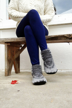 knitted demi boot grey handmade upcycled