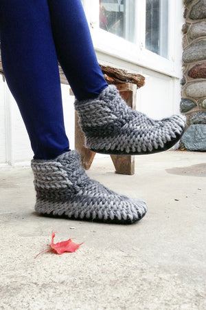 woolen demi boot grey handmade upcycled