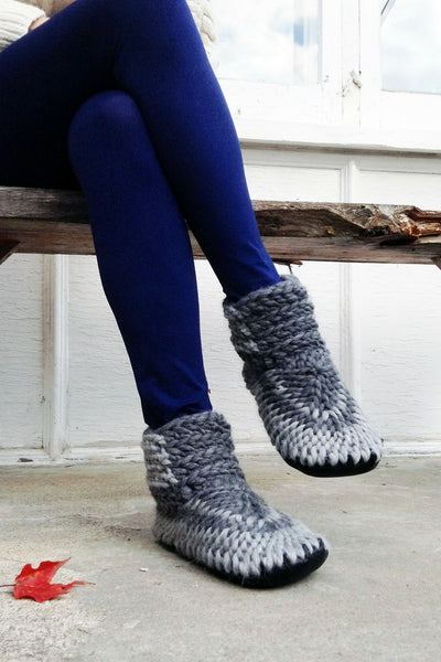 knitted demi boot grey handmade recycled