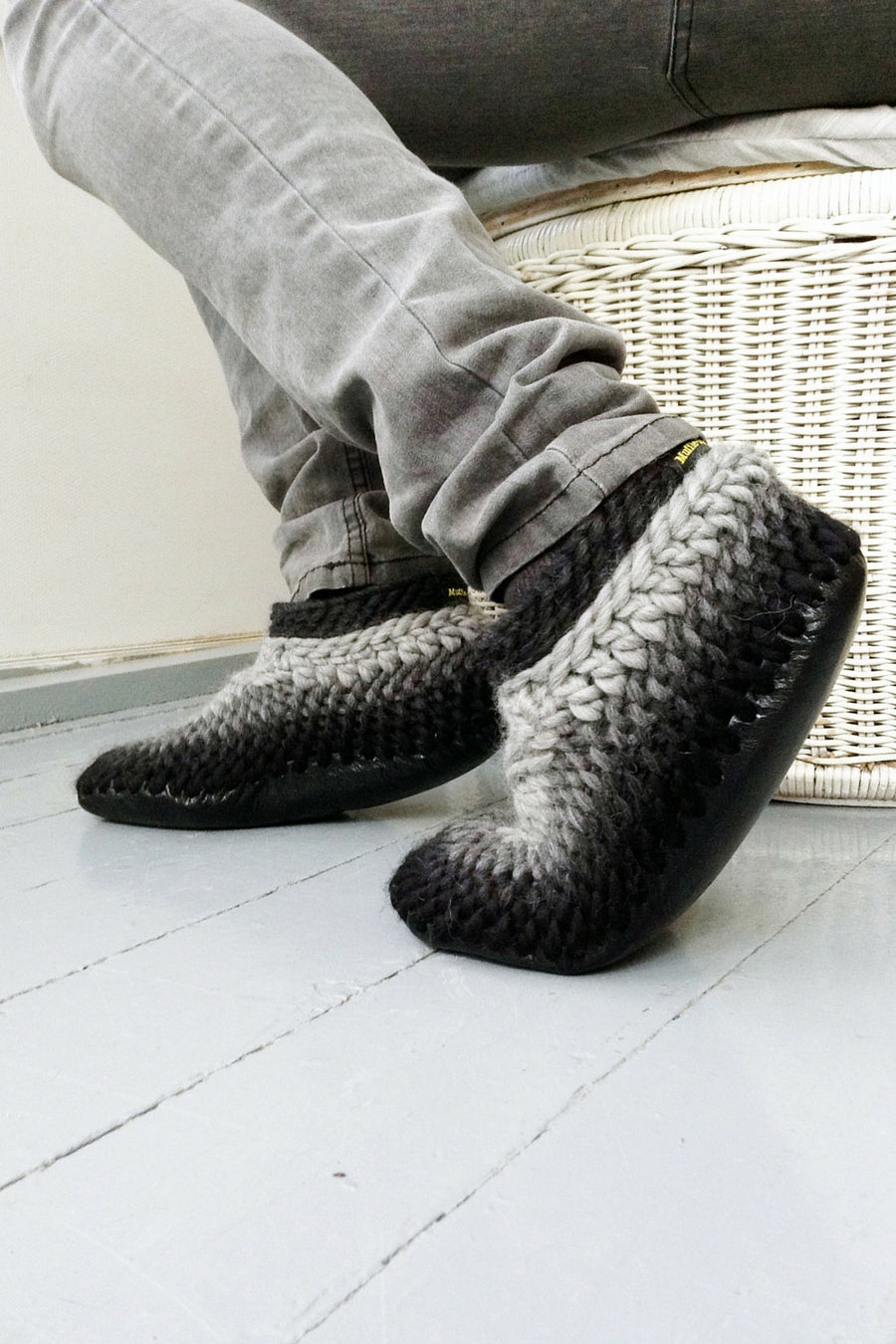 classic slipper black grey handmade upcycled