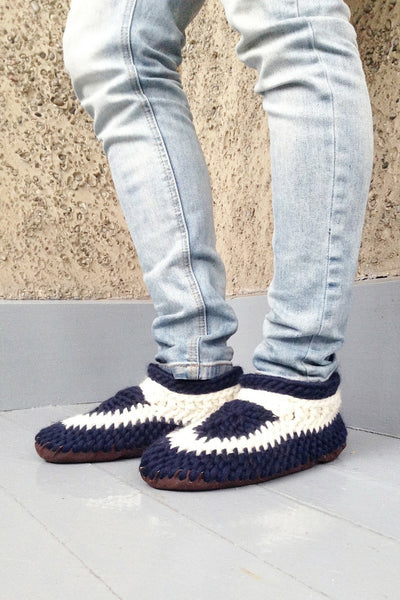 MuffleUp Slippers: Nautical Men Side View