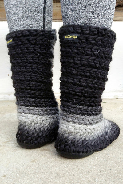 wool slipper boots grey fade handmade repurposed fur
