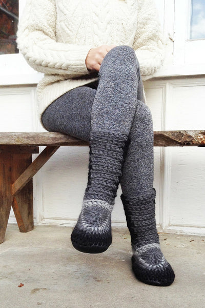 wool slipper boots grey fade handmade upcycled