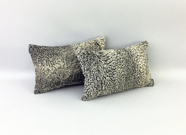 "Repurposed Fur Accent Pillow / Cushion 11""x17"""