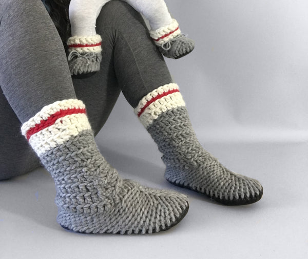 wool slipper boots grey white red handmade recycled